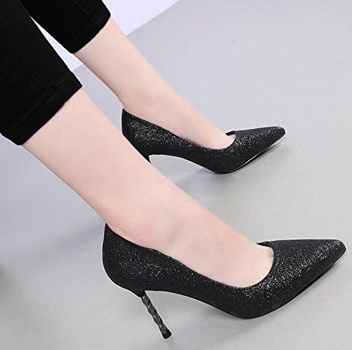 KHSKX-Son Todos Los Zapatos De Tacon Alto Partido Boca Superficial Con Una Fina Espiral Con Zapatos De Lentejuelas Sexy black