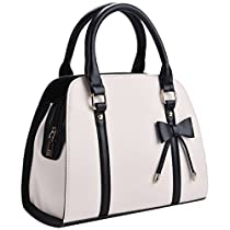 Black Leather Handbags,Coofit Top Handle Handbags Ladies Tote Bag for Women Bow Purses and Handbags