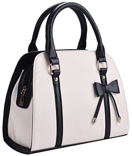 Coofit Lady Handbag Little Bow Leisure Top-Handle Bags Shoulder Bag Purses and Handbags(Beige)