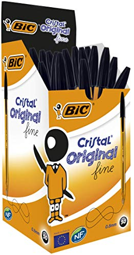 BIC Cristal Original Fine Ball Pens Fine Point (0.8 mm) - Black, Box of 50