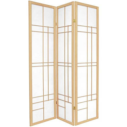 Oriental Furniture 6 ft. Tall Eudes Shoji Screen - Natural - 3 Panels