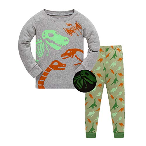 Boys Pajamas Glow in The Dark Long Sleeve PJs Kids 100% Cotton Clothes Sets Sleepwear -