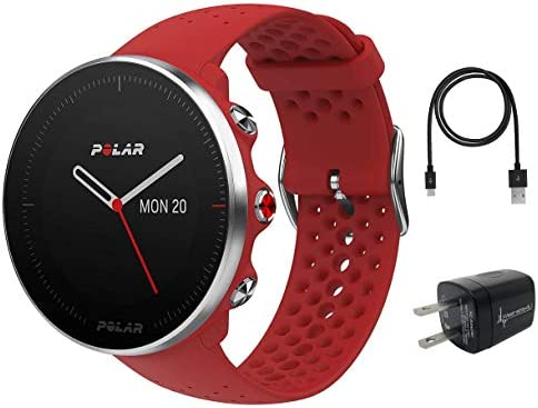 Polar Vantage M Advanced Multisport GPS Watch and Wearable4U Wall Charger Bundle M L 140-210mm Wrist , Red
