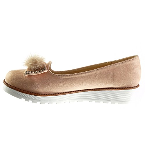 Angkorly - Chaussure Mode Mocassin slip-on femme noeud pom-pom strass diamant Talon compensé plateforme 3 CM - Rose