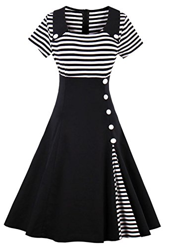 VERNASSA 50s Vestidos Vintage Retro Rockabilly Clásico Dress for Evening Cocktail Party, Multicolor, S-Plus Size 4XL 1528-negro