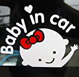 Aaron White Baby in Car (Girl) Baby Safety Sign Car Sticker, Car Decal Sticker (1-Pack)