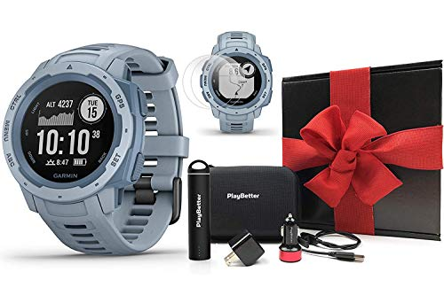 Garmin Instinct (Seafoam) Outdoor GPS Watch Gift Box Bundle | with PlayBetter Portable Charger, USB Car & Wall Adapters, Hard Case | Rugged GPS Watch | Heart Rate | Black Gift Box, Red Bow