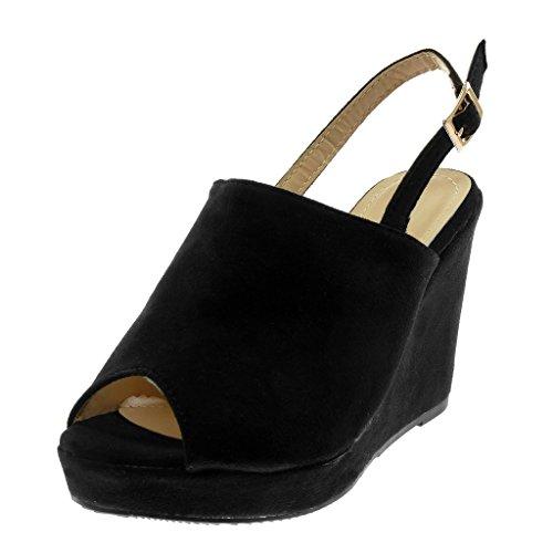 Cinturino Peep Piattaforma Zeppe Moda Scarpe Donna Tanga Angkorly Zeppa Alla Toe Sandali Caviglia nero Tacco 10 Mules con cm I48qBw