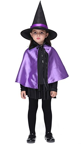 [Girlscos Girl's Witch Costume 4 Piece Suit Kids Halloween Cosplay Costumes Large Purple] (Funny Ideas For Girl Halloween Costumes)
