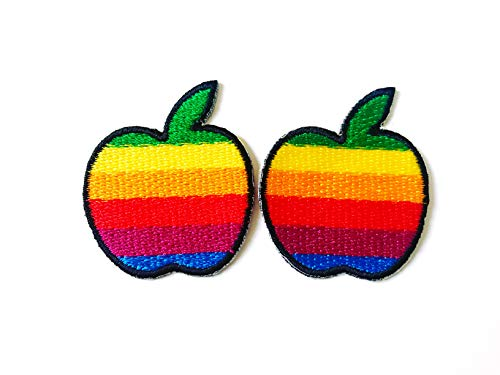 Tyga_Thai Brand Set 2 pcs. Mini Rainbow Apple Cute Cartoon Logo Jacket T-Shirt Sew Iron on Embroidered Applique Badge Sign Patch Clothing etc. (Iron-Rainbow-Apple-Mini)