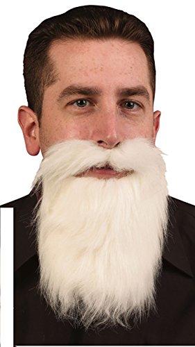 [White Mustache & Long Beard Costume Accessory One Size] (Mens Lumberjack Costumes)