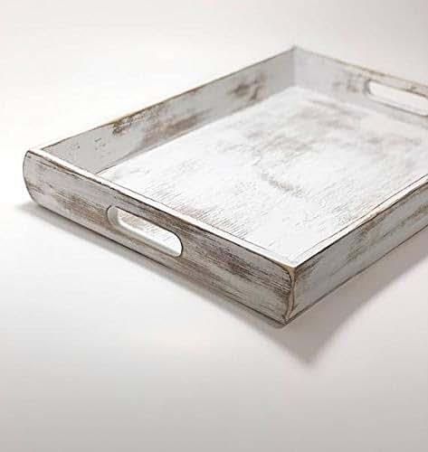 White Coffee Table Tray: Amazon.com: Nautical Wooden Serving Tray, Coastal Ottoman