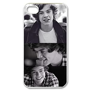 CTSLR Music & Singer Series Protective Hard Case Cover for iPhone 4 & 4S - 1 Pack - One Direction - Harry Styles 2(White)