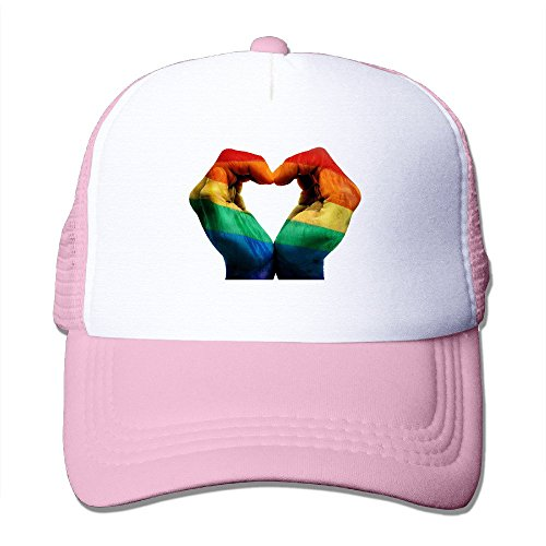 Plaid Pride Cap - Cool Gay Rainbow Flag Love Hand Heart Trucker Cap Baseball Hat (5 Colors) Pink