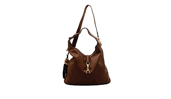 ea201bdb191c Gucci New Jackie Large Leather Hobo Shoulder Bag 218491, Diamante Logo  Brown: Amazon.ca: Shoes & Handbags