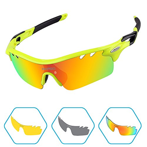 AKASO Men's Tripolar Polarized Cycling Sunglasses, 3 Polarized Interchangeable Lenses, 100% UV Protection, Fits for Cycling and Running(Yellow Black)