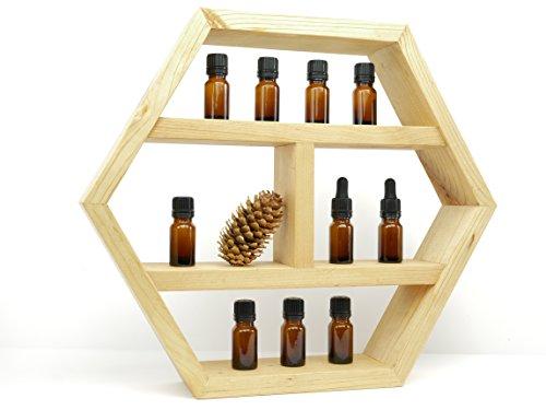 Essential Oils Display Shelf: Accessory Shelves, Floating Hexagon Decorative Storage Shelf, Wall Mounted, Shadow Box, Natural Pine, 14Hx16W
