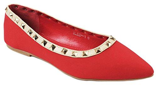 Rivet Designer Clouté / Bout Rond Robe Ballet Chaussures Plates Red_s1