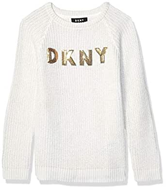 DKNY Girls' Toddler Sweater (More Styles Available), Raglan Lurex Ivory, 2T