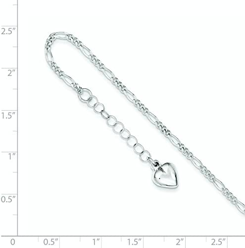 925 Sterling Silver Polished Heart Anklet 9inch Fine Jewelry Ideal Gifts For Women