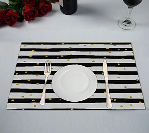 ABPHQTO Gold Glittering Confetti Stripe Placemat 12x18 Inch,Set of 2 Table Placemats
