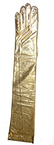 7284 Gold Shoulder Length Evening Gloves Lame]()