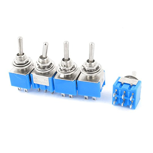 84 5Pcs AC 125V 6A 6-Pin DPDT On-On 2 Position Locking Mini Toggle Switch (6 Mm Toggle)