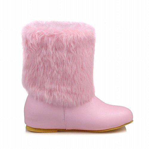 Chic Stiefel Faux Fur Damen Pink Schnee Mid Shoes Calf Mee U8wqEHW
