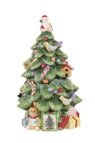 (Spode Christmas Tree Sculpted Christmas Tree Shaped Covered Cookie Jar,)