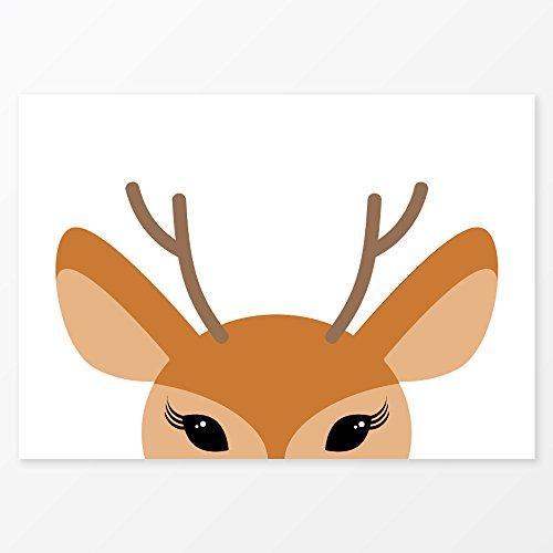 Deer Print, Size A3, 200 gsm Poster Paper, Frameless, Cute Nursery Wall Art or Kids Room Decor