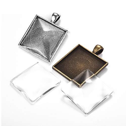 10Pcs Pendant Trays Square Bezel with 10 Pcs Clear Glass Cabochon Dome, 25mm/1 inch Pendant Blanks Cabochons Settings for Camo Photo Pendant Craft Jewelry Making (25 Mm Square Bezel)