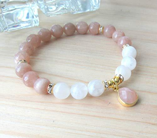 New beginnings, Moonstone bracelet, white and peach moonstone, High quality beaded bracelet, Inner Growth