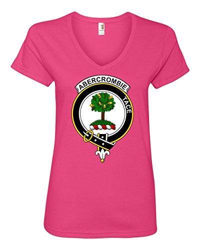 Tenacitee Women's Scottish Clan Crest Badge Abercrombie V Neck T-Shirt, Small, Hot Pink - Abercrombie Womens Shirt