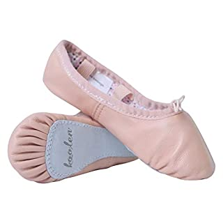 Koolen Leather Ballet Shoes, Vintage Polka dot Ballet Slippers, Ballet Dance Shoes for Girls (Toddler/Little Kid/Big Kid/Women)