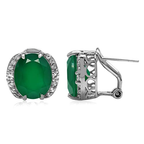 (7.96ct. 12x10MM Natural Oval Shape Emerald Green Agate 925 Sterling Silver Omega Clip Post Earrings)