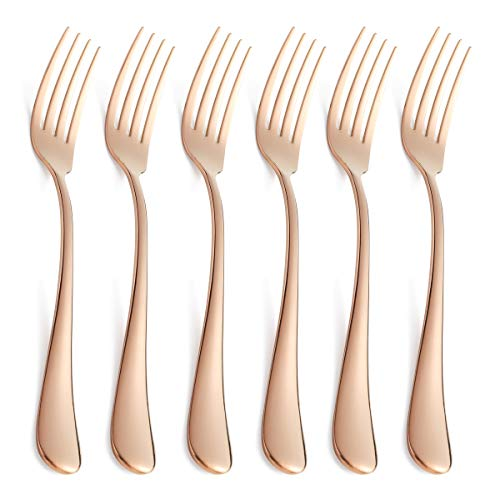 Rose Gold Salad Fork Set 6 Piece Copper Colored Stainless Steel Dessert Forks Only Silverware Flatware Bulk Open Stock Modern Round Edge Handle 6.9 Inch Mirror ()