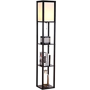 Brightech - Maxwell Shelf Floor Lamp - Modern Mood Lighting for your Living Room and Bedroom - Shade Diffused Light Source in a Natural Wood Frame with Open-Box Shelves - Classic Black