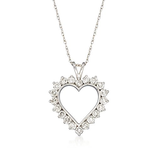 Ross-Simons 1.00 ct. t.w. Diamond Open-Space Heart Pendant Necklace in Sterling Silver