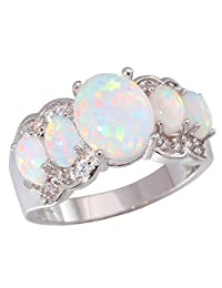 CiNily Created White Fire Opal Zircon Women Jewelry Gemstone Rhodium Plated Ring Size 5-12