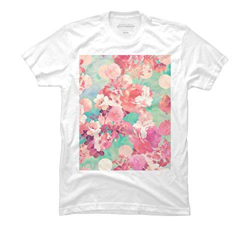 Romantic Pink Retro Floral Pattern Teal Men's Medium White Graphic T Shirt (Pink Pattern Teal)