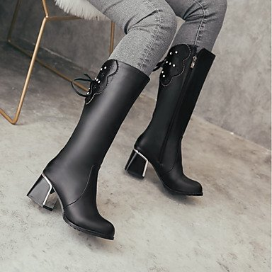Zipper Lace amp; Gll Riding Leatherette Heel Winter Fall Dress Boots amp;xuezi up Shoes Wedding Fashion red Walking Boots Party Evening Women's Chunky Boots 64UwqT6
