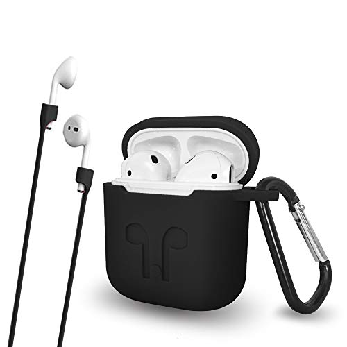 Silicone AirPods Protective Case Cover with Keychain - Air Pods Hang Case Protector for Apple AirPods Accessories By Talent (Black)