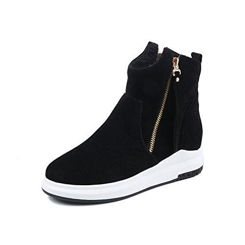BalaMasa Womens No-Heel Zip Solid Suede Suede Boots ABL09601 Black 60i9eP