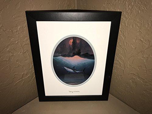 By Wyland Shark Matted Silver Foil Stamp Custom Framed (Stamp Framed)
