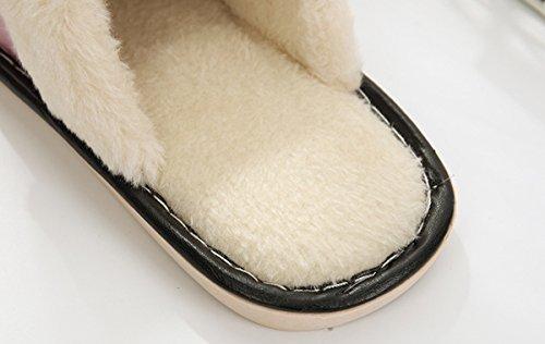 Marron dérapant en surface à peluche imperméable la pantoufles PU pantoufles pantoufles maison Rojeam femmes chaudes anti xBS6pwZ
