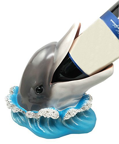 Bottlenose Marine Dolphin Fish Emerging From Water Wine Oil Bottle Holder Figurine Kitchen
