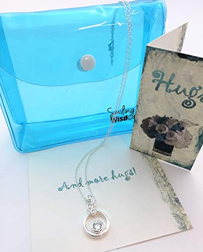 - Smiling Wisdom - Hugs Embracing Rings Necklace Gift Set- 4 Rounds Silver Plated Necklace - Hugs & More Hugs! Sympathy Supportive Friend Greeting Card - Woman Her -. 925 Silver