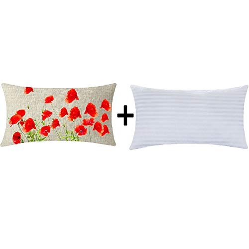 Happy Hello Poppy Flower Floral Home Couch Sofa Decorative Cotton Linen Waist Lumbar Throw Pillow Case Cushion Cover with Insert Oblong 12x20 Inches