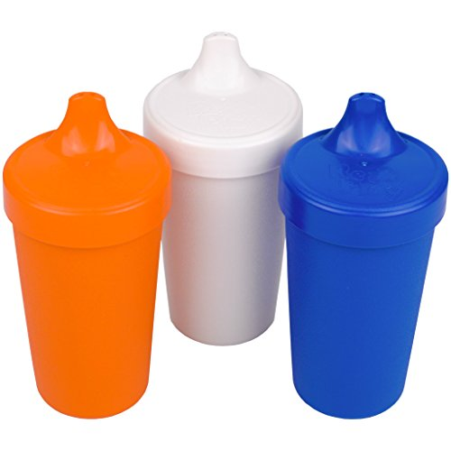 (Re-Play Made in the USA 3pk Toddler Feeding No Spill Sippy Cups for Baby, Toddler, and Child Feeding - Orange, White, Navy Blue (Sport) Durable, Dependable and Toddler)