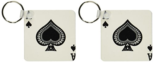 3dRose Ace of Spades playing card - Black spade suit - Gifts for cards game players - Key Chains, 2.25 x 2.25 inches, set of 2 (kc_76552_1)